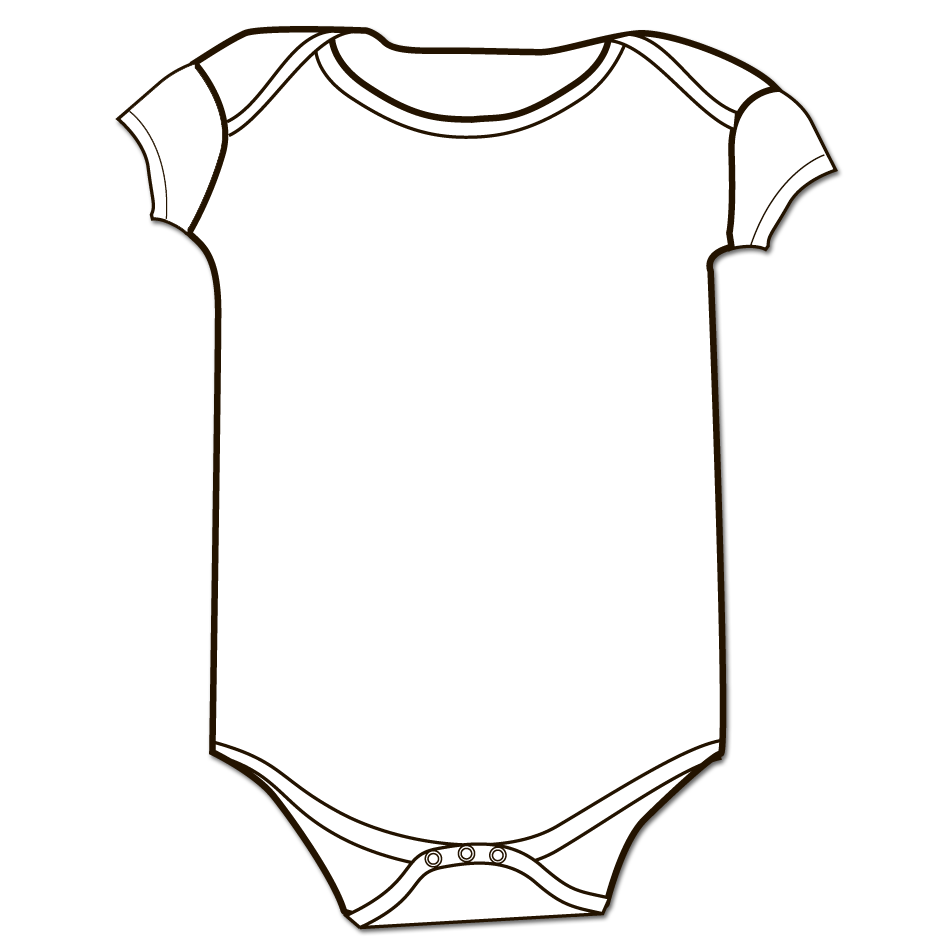 White Baby Onesie Clip Art Sketch Coloring Page